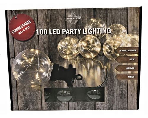 Partylight x10 bol 100 warm ip44 Timer connect 3M 450cm